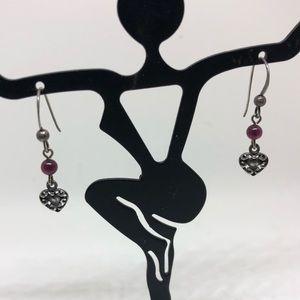Jewelry - Sterling garnet  and heart dangle earrings